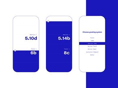 Climbing grade converter app concept conversion interface slider range typography design sketchapp sport concept ux ui app blue converter grade climbing
