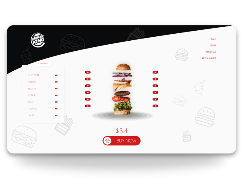 BurgerKing Costumize menu minimal web landingpage design customize burger menu burger ui design ui