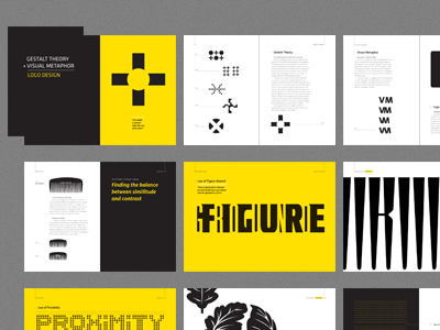Gestalt Theory spreads print book layout typography infographic logo psychology research information design indesign