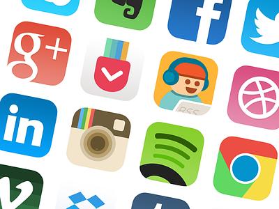 [PSD] iOS7 App Icon Redesign facebook appicon dropbox ios7 flat icon geekboy pocket instagram spotify chrome
