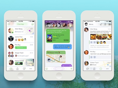 [PSD]Smart Chat App smart chat conversation messaging messenger whatsapp feeds timeline location voice