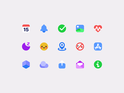 Icons for a habit tracking app about info email feedback share icloud data do not location mood sleep app store health photo notification calendar habit tracker habit
