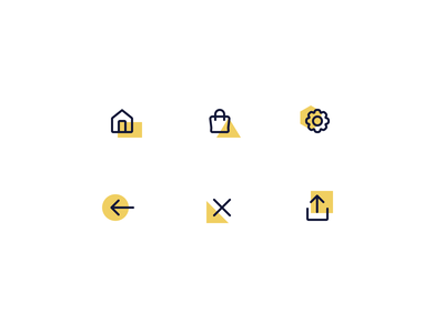Topbar Icons for SquareDude export share remove arrow back gears settings shopping bag shopping house home