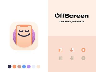 OffScreen App Design product design branding design app icon design moment productivity focused phone addiction unplugged phone usage screen time phone digital detox