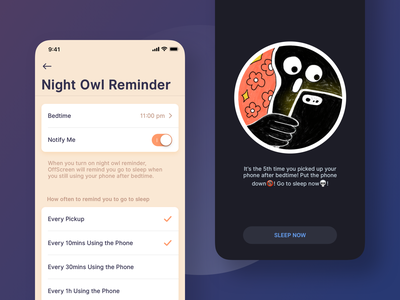Night Owl Reminder offcreen phone addiction notification reminder nightowl