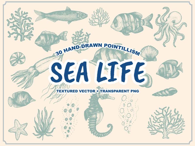 Sea Life Hand-drawn Pointillism octopus seaweed coral shellfish seahorses badge vintage pointillism stippling stippled stipple vintage logo illustraion animals fish drawing hand drawn artwork illustration animal