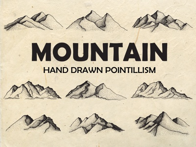 Hand Drawn Mountain Illustration stipple pointillism compas doodle natural vintage logo illustration drawing artwork vintage backpack adventure outdoors outdoor landscape sketch camp nature mountain hand drawn