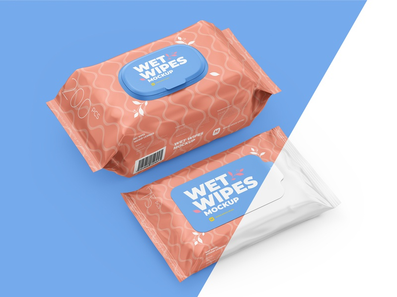 Wet Wipes Mockup, large and small packaging
