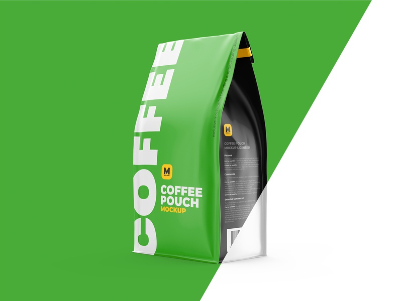 Coffee Pouch Mockup Half-Side view