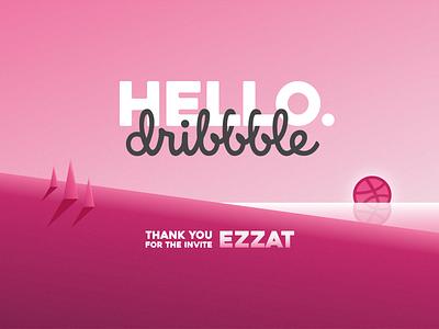 Hello dribbble logo landscape dribbble hello thanks thank you invite dribbble invite affinity designer design gradient vector clean adobe illustrator