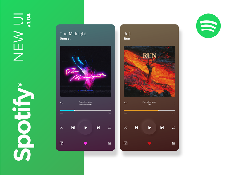 Spotify Music Player Redesign neumorphism music app music player app gradient redesign music player ui mobile music player spotify ux ui design app concept vector clean adobe illustrator