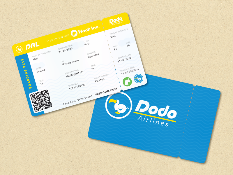 Dodo Airlines Boarding Pass concept clean vector layout pass boarding pass holiday switch dodo airline gaming video game nintendo new horizons animal crossing design adobe illustrator branding