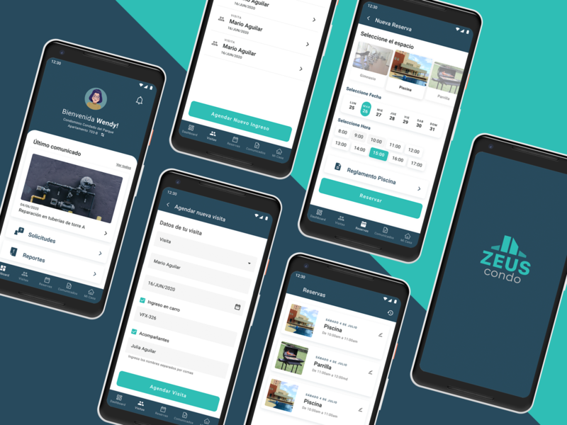 Zeus Condo app UX/UI Design booking manager home management condo mobile app design ui ux
