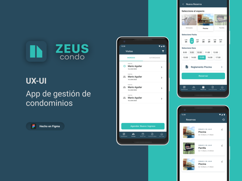 Zeus Condo app UX/UI design card time date manager interface design management home condo app booking mobile design ui ux