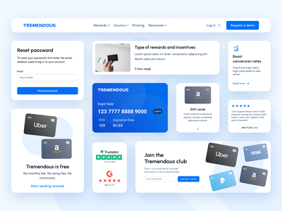 Design System for Tremendous products product design ui design branding cards design design system component library ui