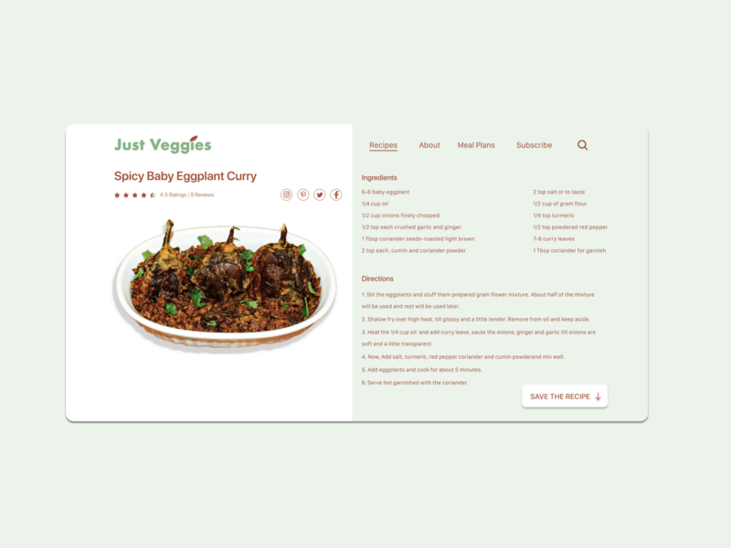 Daily UI #040 - Recipe soulfood curry eggplant recipe 100 day project day40 100daychallenge uidesign vector typography ux dribbble figma dailyuichallenge ui design dailyui