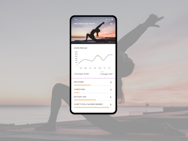 Daily UI #041 - Workout Tracker trackers unsplash fit healthy happy mindfulness tracker workout yoga pose yoga illustration uidesign dribbble ux 100daychallenge figma dailyuichallenge design ui dailyui