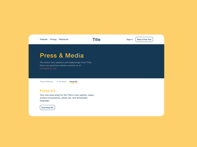DailyUI #051 - Press Page go blue media kit daily download kit 051 100daychallenge ux uidesign dribbble ui figma design dailyuichallenge download press page day51 dailyui