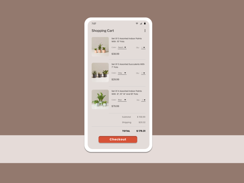 Daily UI #058 - Shopping Cart checkout day 58 succulents plants shopping shopping cart art 100daychallenge uidesign ux dribbble ui figma dailyuichallenge design dailyui