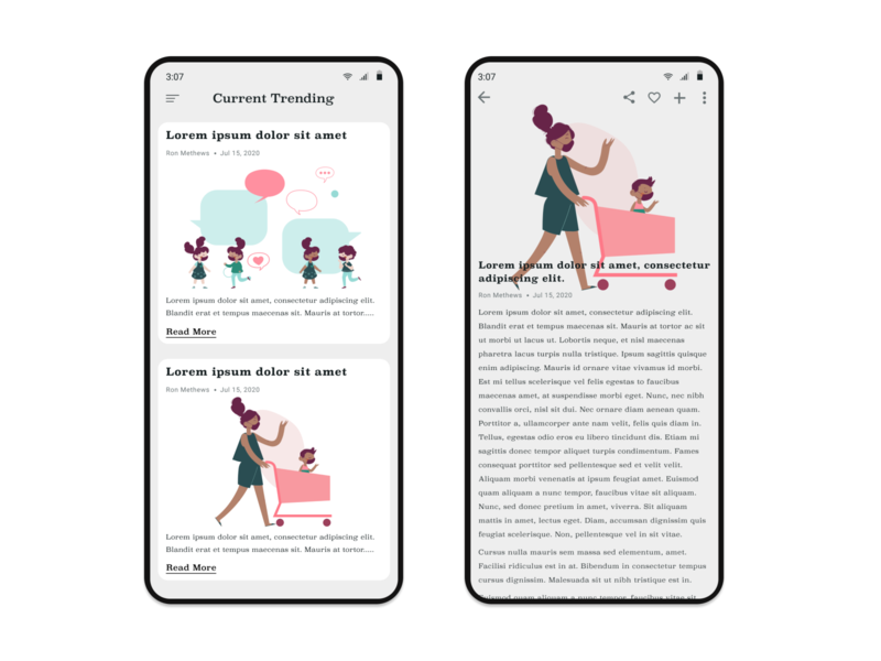 Daily UI 69 - Trending Articles covid-19 mask newsfeed articles color blush vector art illustration 100daychallenge uidesign ux ui dribbble figma dailyuichallenge design dailyui