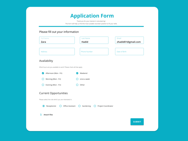 Daily UI #082 - Form application design form design form 100daychallenge uidesign dribbble ui figma dailyuichallenge design dailyui
