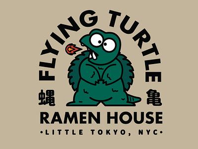 Flying Turtle Ramen House adobe digital illustration kana graphic design ui vector typography logo illustration icon design branding