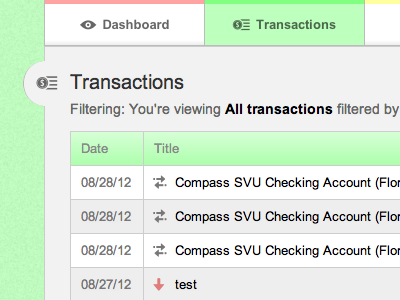 Transaction page (menu styling changed) transactions table navigation colors