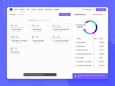 Task Dolphin - projects ✅👨🏻💻 project management tool project management web interfaces task app saas design to do app tasks web application design semiflat studio semiflat project tile piechart productivity app saas app projects time tracker time management