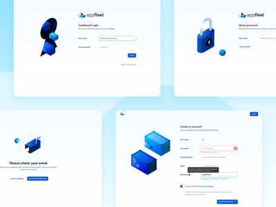 appfleet - Login & register screens 🔒☁️ aws microservices cloud services web application sign in onboarding web saas saas design sign up form illustrations/ui cloud illustration containers sign up ui register form login screen login web