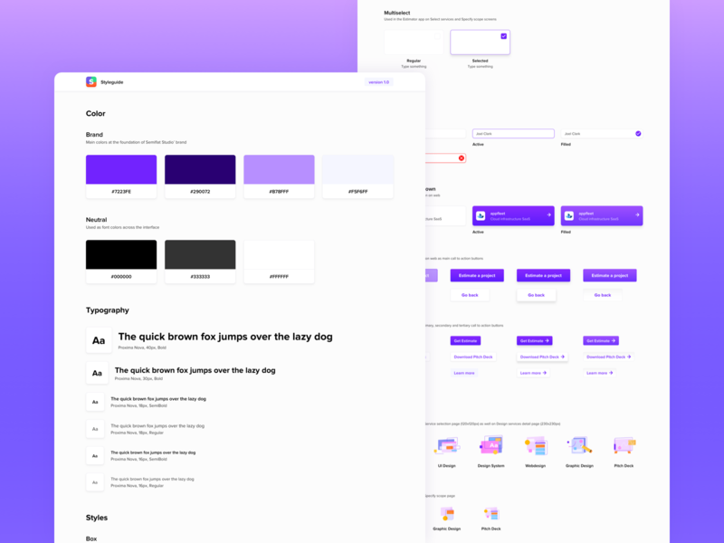 Semiflat Styleguide 🎨 design language components semiflat studio semiflat font style input fields inputs button states color palette design system design systems sketch library library style guide styleguide