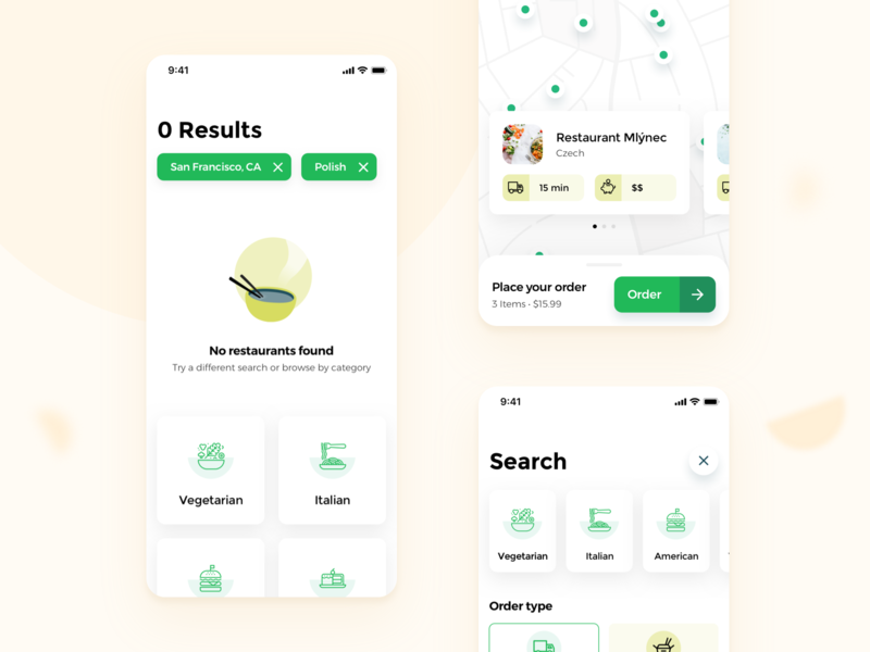 Snack it - Food Delivery 🥗🍔 (WIP) food delivery food app takeaway food ordering food delivery service food and beverage map cards categories ios searching restaurant search food ordering app semiflat semiflat studio takeaway app food and drink