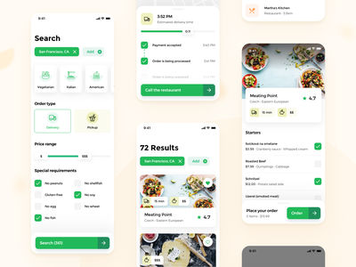 Snack it - Restaurant search 🍱🍕 (WIP) delivery status search screen filters mobile delivery service mobile search filters restaurant app food and drink food app delivery app