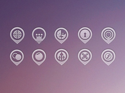 iCon SET icon icons purple light flat pictograph unusual symbol pink