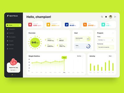 Sporticus dashboard uidesign ui interface dashboad concept statistics sport statistics fitness app sport health app