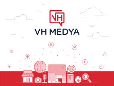 VH Medya - Illustration illustration design media media logo social media socialmedia social branding design brand identity brand branding catalog catalogue cover cover design