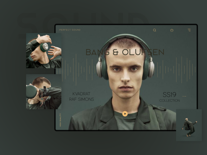 Bang & Olufsen landing page sound bang and olufsen headphones simple design web design minimalistic
