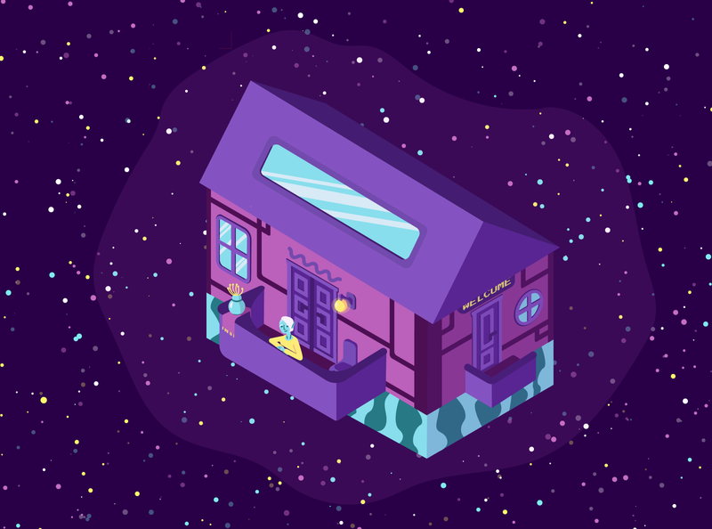 space house station isolated isolation alien stars building isometry isometric house space cozy character design cartoon character cartoon vector illustration graphic flat design
