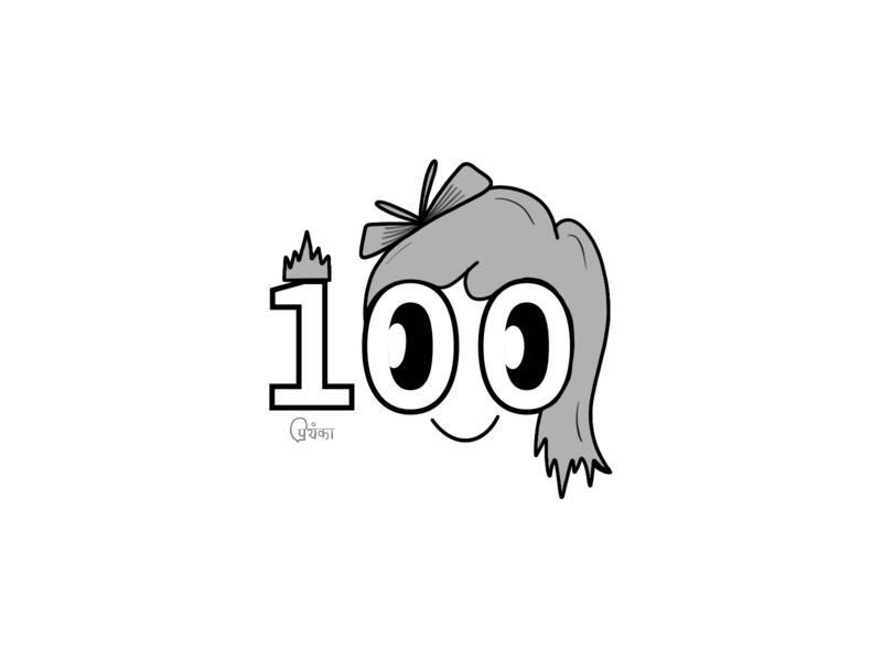 100th post! blackandwhite vector art celebration character design design character 100 illustration