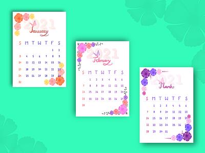 2021 Floral Calendar hand drawn calligraphy floral calender new year calendar 2021 2021 calendar ui ux branding design illustration