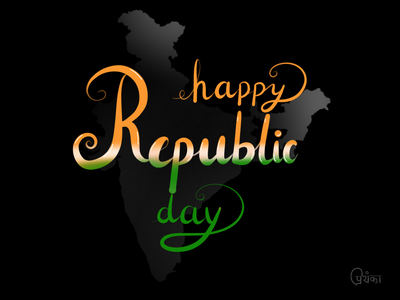 Happy Republic Day lettering republic day typography calligraphy painting branding design illustration