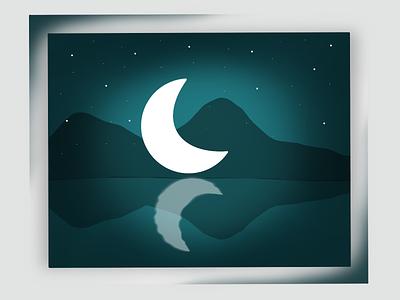 Moonlight star mountain moon dream storytelling minimal cover design moonlight paintings ui ux painting branding design illustration