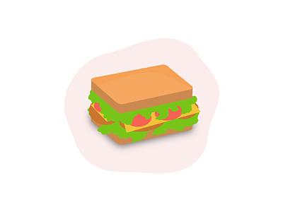 Sandwich designer branding food illustration vector icon painting design illustration sandwich