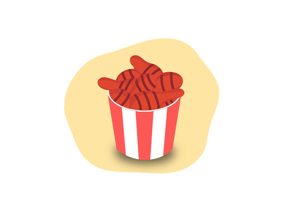 Drumstick chicken bucket 🍗 icon food illustration drawing kfc graphic design chicken drumstick ui ux branding design illustration