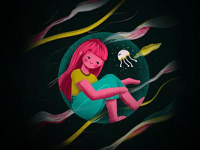 Quarantine cute procreate jellyfish design illustration covid19 quarantine