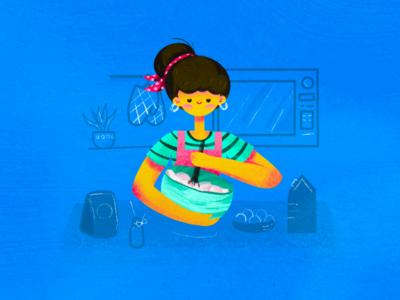 Baking during quarantine stayhome quarantine cute covid-19 illustration cooking baking