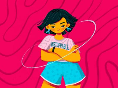 Unstoppable visual illustration character woman strong feminist feminine daily illustration illustration unstoppable