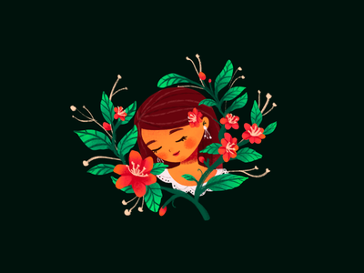 Camellia book character illustrations illustration design editorial woman calm cute camellia flower women