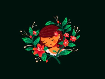 Camellia book character illustrations illustration design editorial woman calm cute camellia flower women