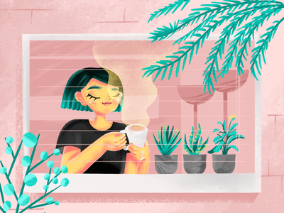 Morning vibes treatment skin care selfcare self character illustration