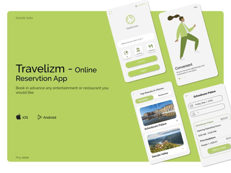 Travelizm - Online Reservtion App cafe restaurant hotel excursion figma reservation app travel